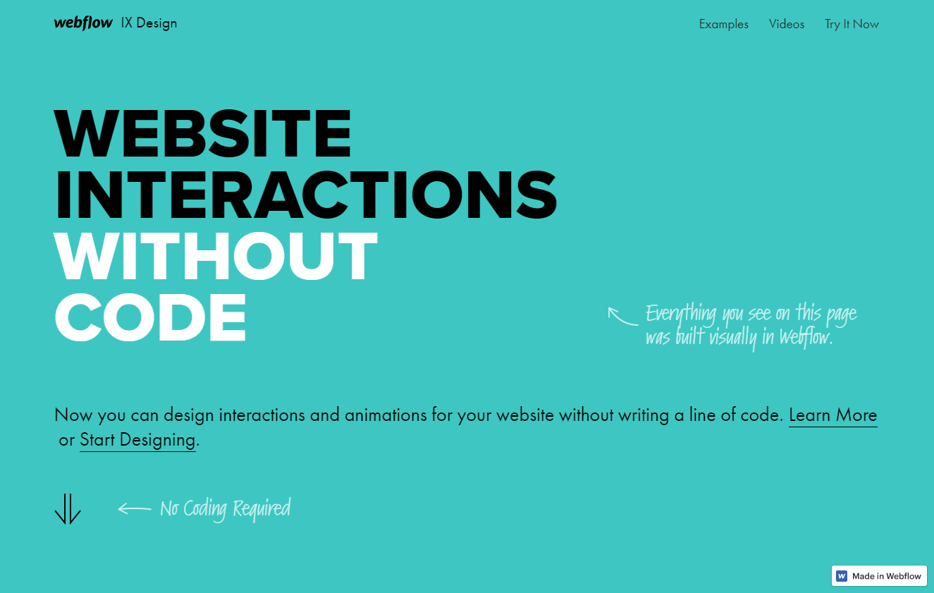 Een plat ontwerp was behoorlijk populair (bron: Webflow)