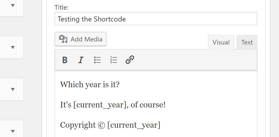 Testen van de shortcode door het in de website te gebruiken