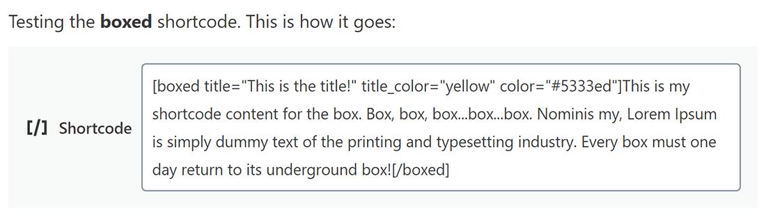 We voegen de boxed shortcode toe samen met een titel, titel kleur en kleur-attributen.