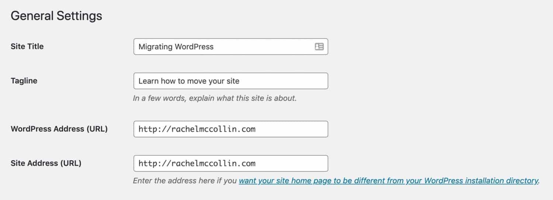 WordPress URL-instellingen