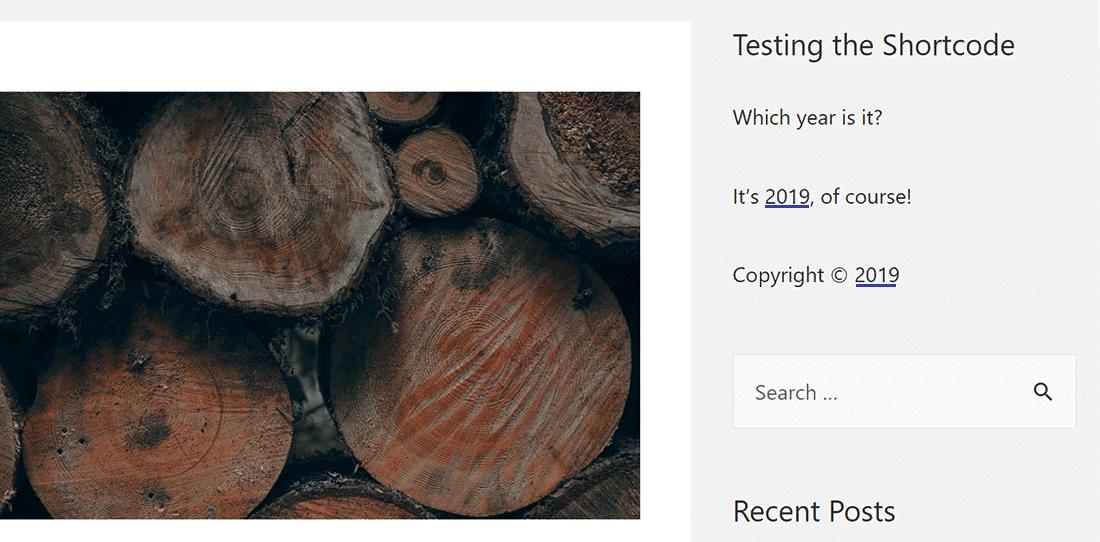 Output van de 'current_year' shortcode