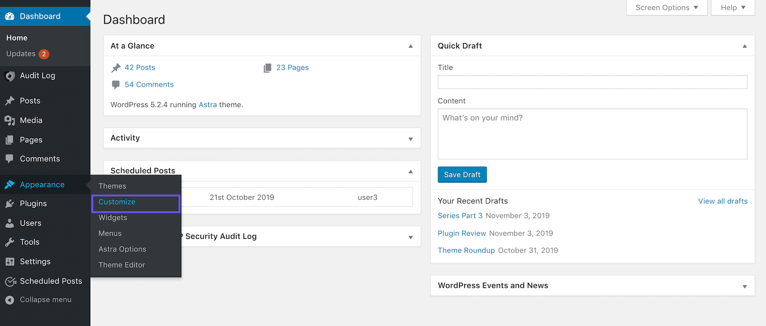 Naar de Customizer gaan via het WordPress dashboard