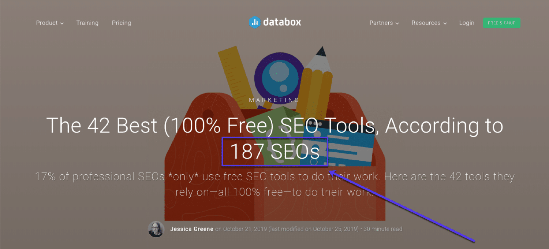 Voorbeeld van een artikel op basis van experts van Databox