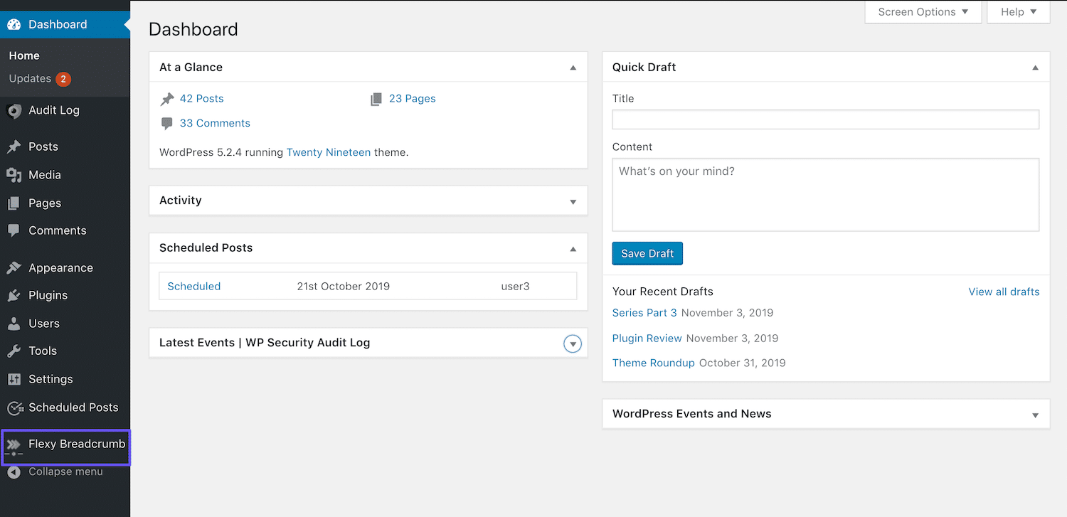 De Flexy Breadcrumb link in de WordPress dashboard zijbalk
