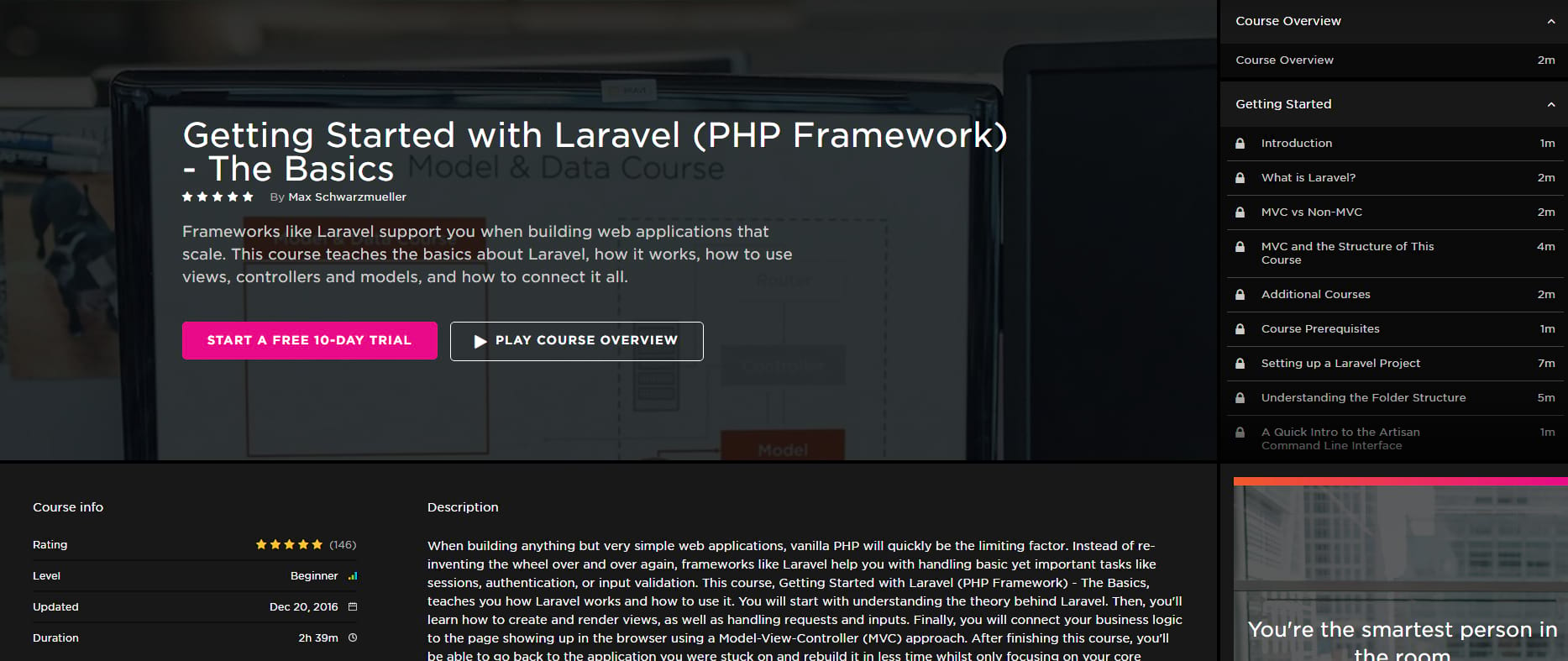 Getting started with Laravel course