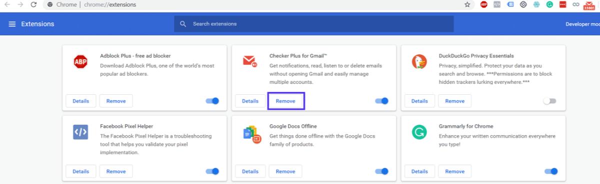 Google Chrome opties voor extensies
