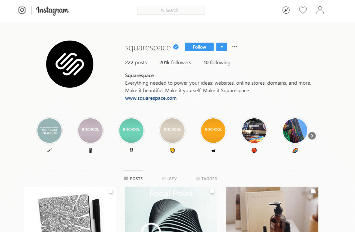 Instagram-account van Squarespace