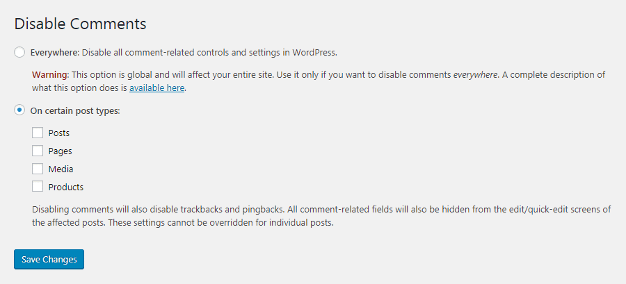 De instellingen van Disable Comments