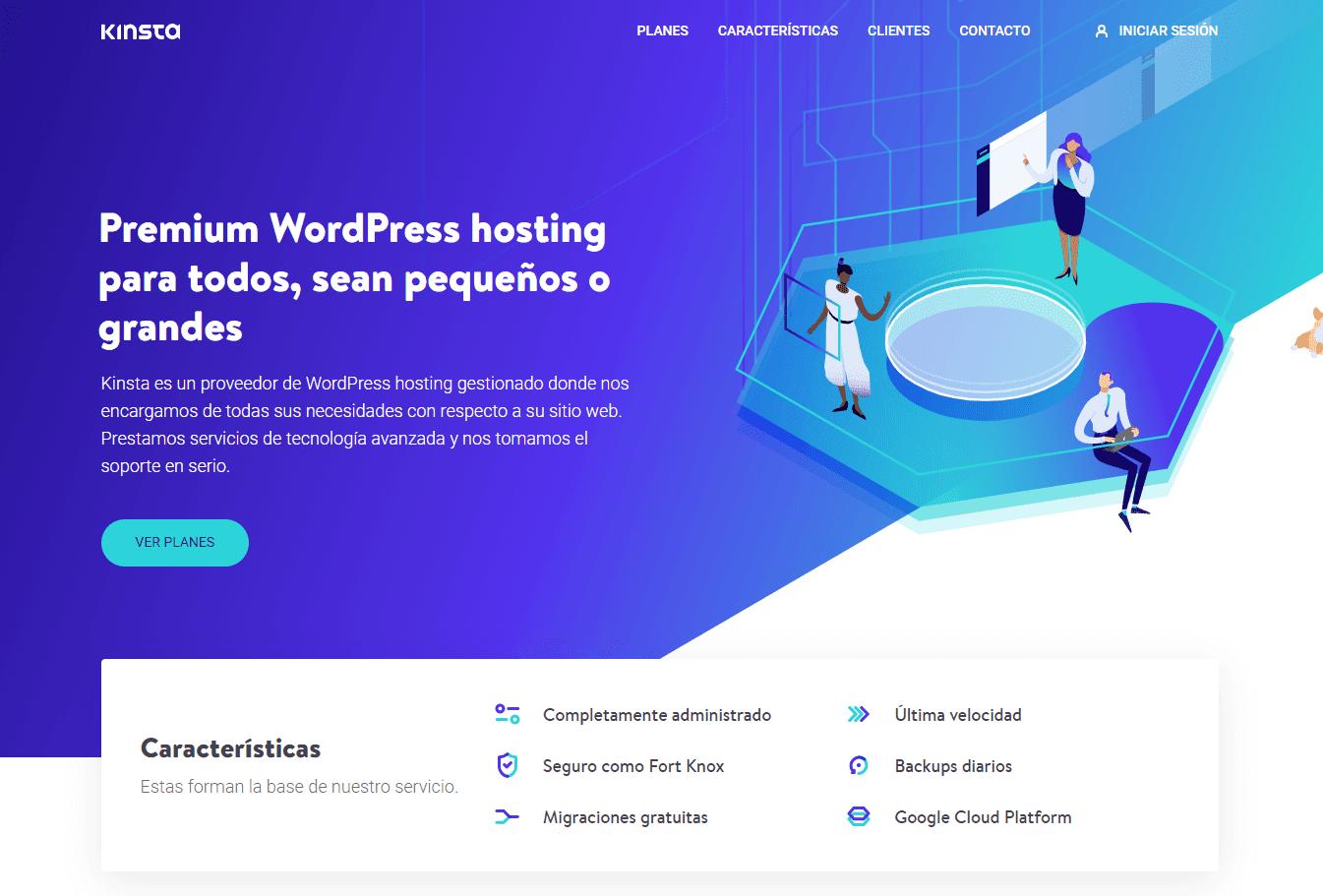 De Kinsta homepage in het Spaans