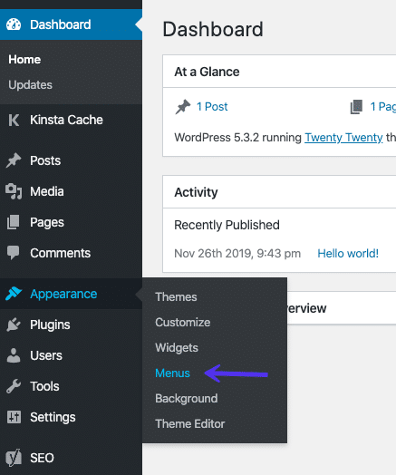De menu-editor in het WordPress dashboard