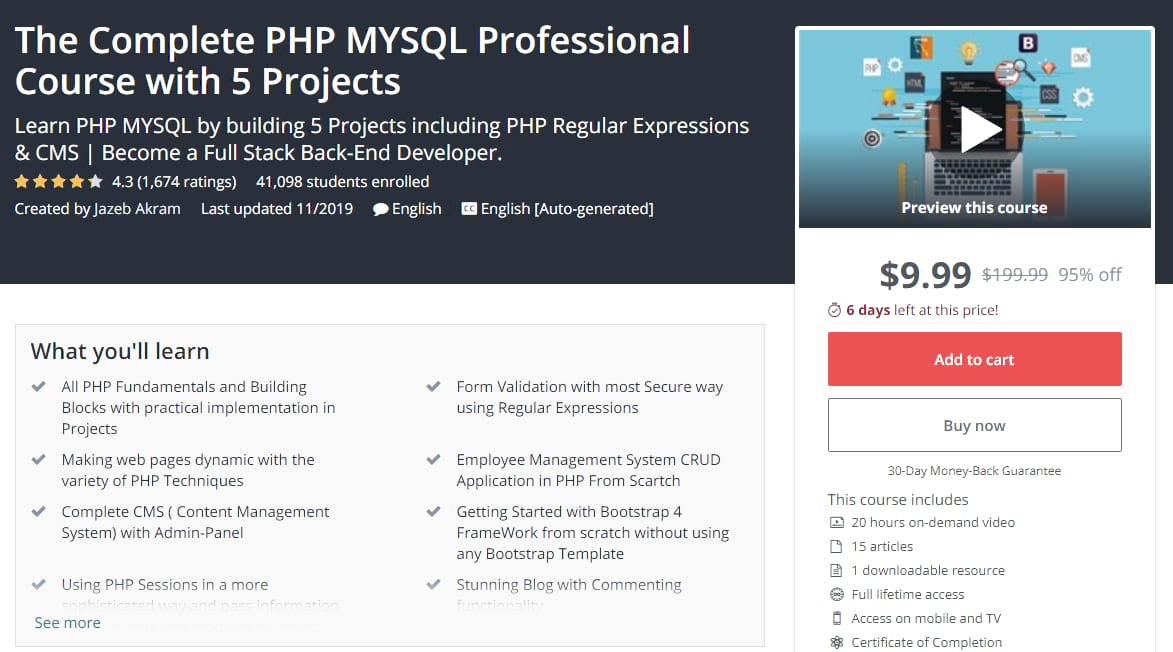 PHP MYSQL Professional Course on Udemy