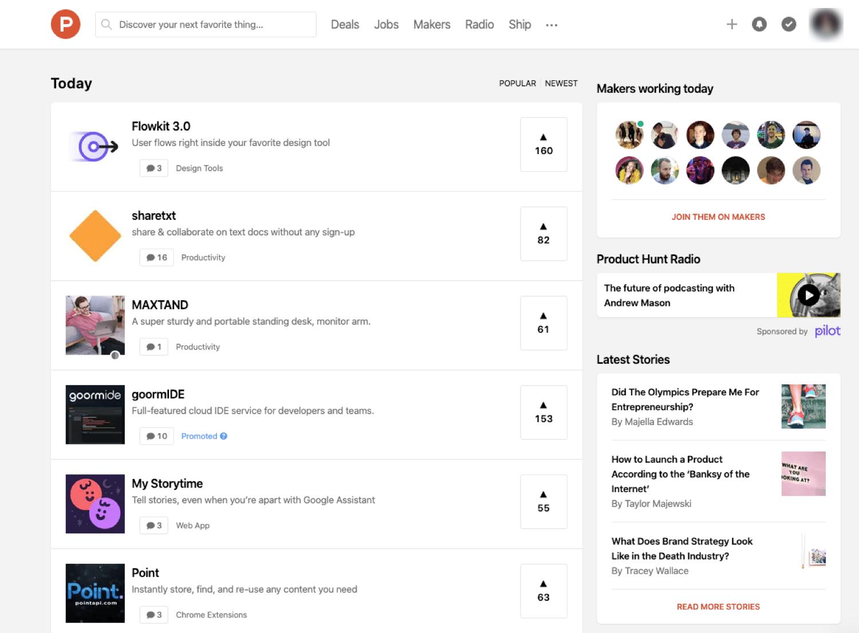 De startpagina van Product Hunt kan verkeer naar je website sturen.