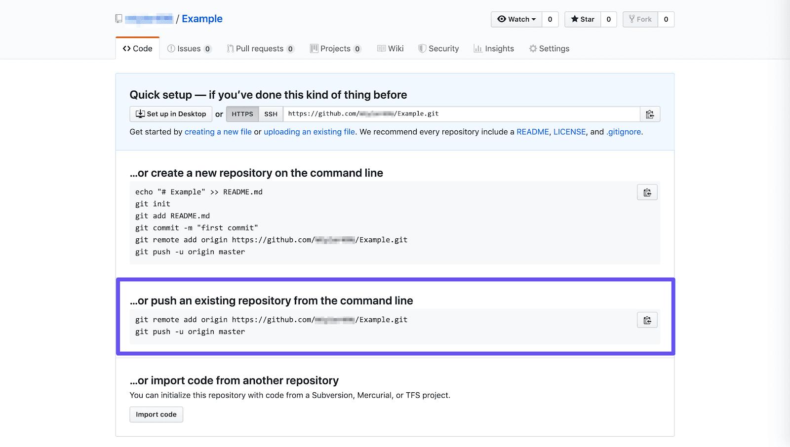 Push een bestaande repository via de opdrachtregeloptie
