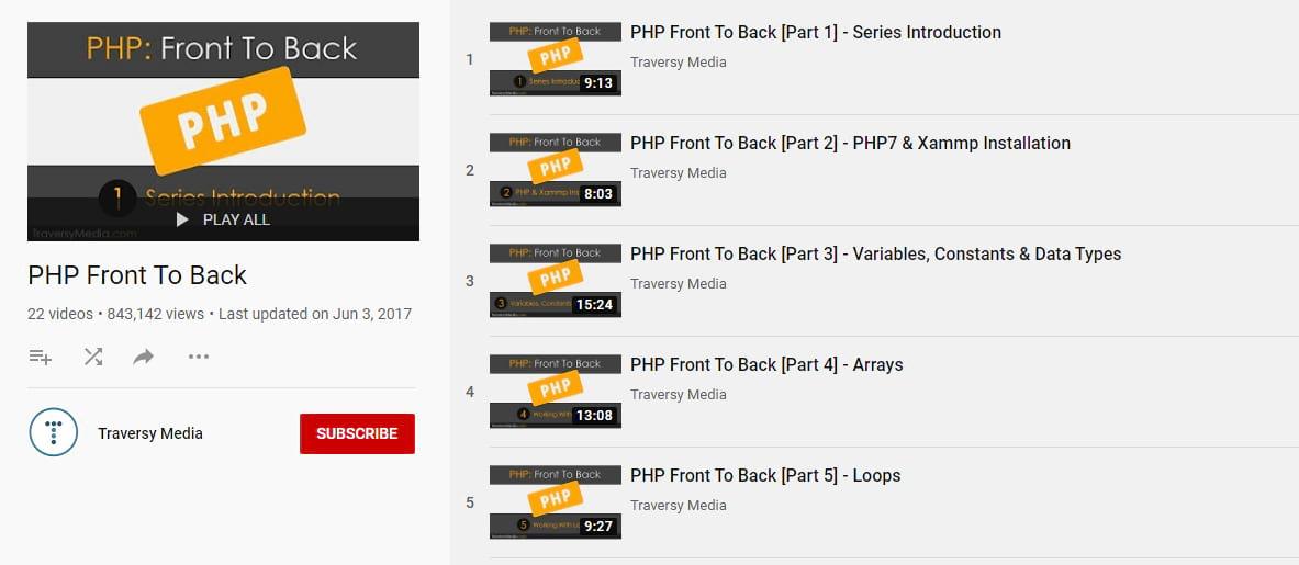 Traversy Media's PHP tutorial
