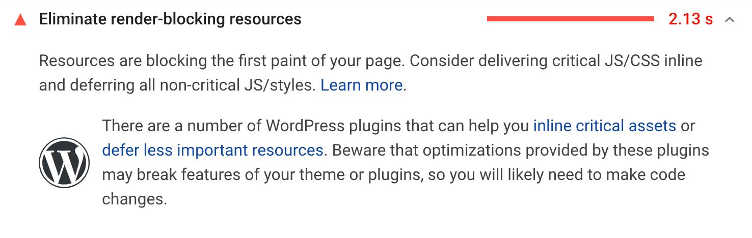Verwijder bronnen die de weergave blokkeren aanbeveling