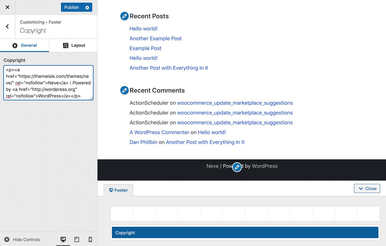Verwijder de thema vermelding in de Customizer