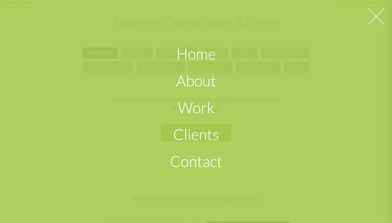 Een voorbeeld van een overlay-menu