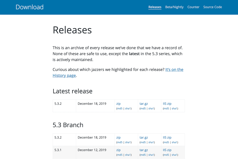 Het WordPress Release Archive