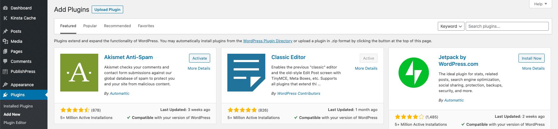 Installeren van een plugin in multisite