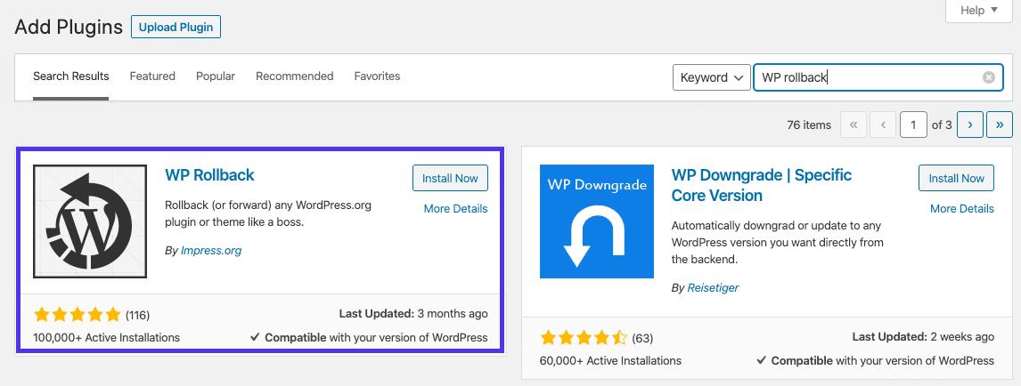 Installeren van de WP Rollback plugin