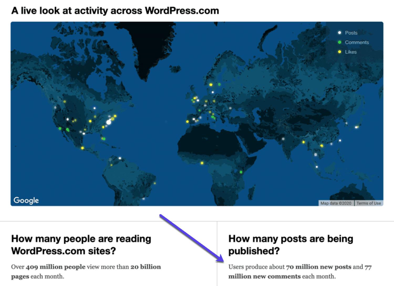 Een kaart met wereldwijd gebruik van WordPress.