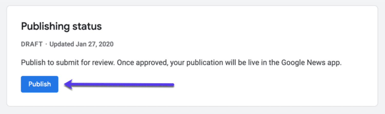 Publicatie status voor je publicatie in Google News