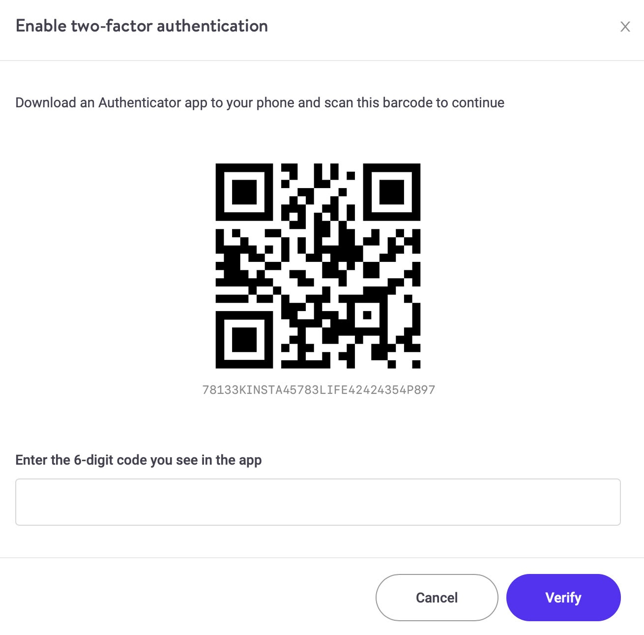 Twee-factor authenticatie inschakelen in het MyKinsta-dashboard.