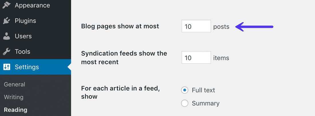 Beperk het aantal artikelen in je blogfeed