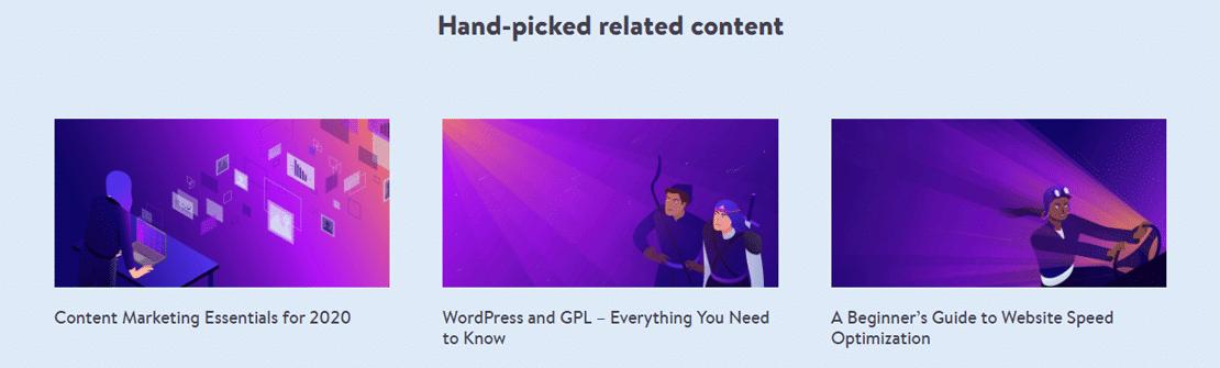 """Kinsta voegt de artikelen met """"Related content"""" handmatig toe"""