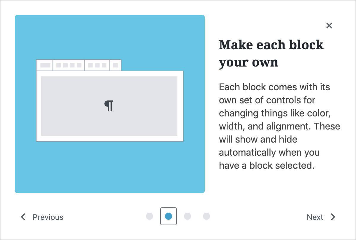 Een pop-up met een handleiding voor nieuwe gebruikers
