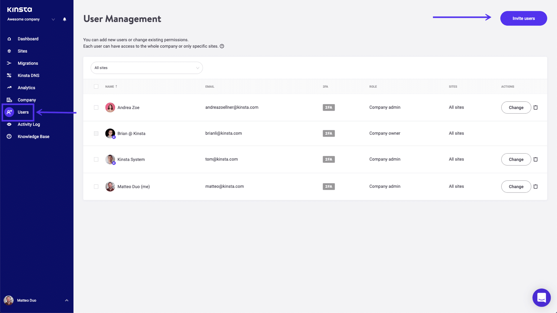 Gebruikers uitnodigen in MyKinsta