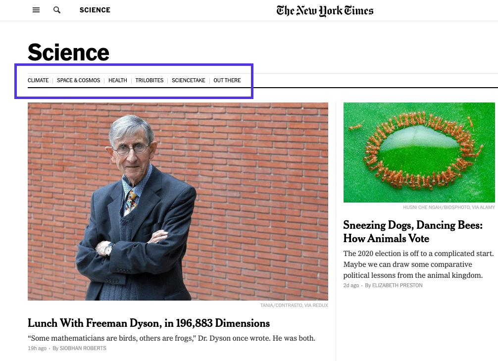 NYT wetenschapspagina - hoofdmenu