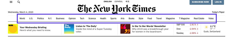 Voorbeeld van hiërarchische navigatie bij de New York Times