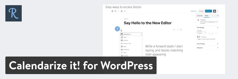 Calendarize it! for WordPress plugin
