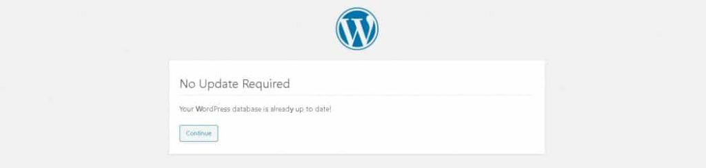"De foutmelding ""database is already up-to-date"" in WordPress."