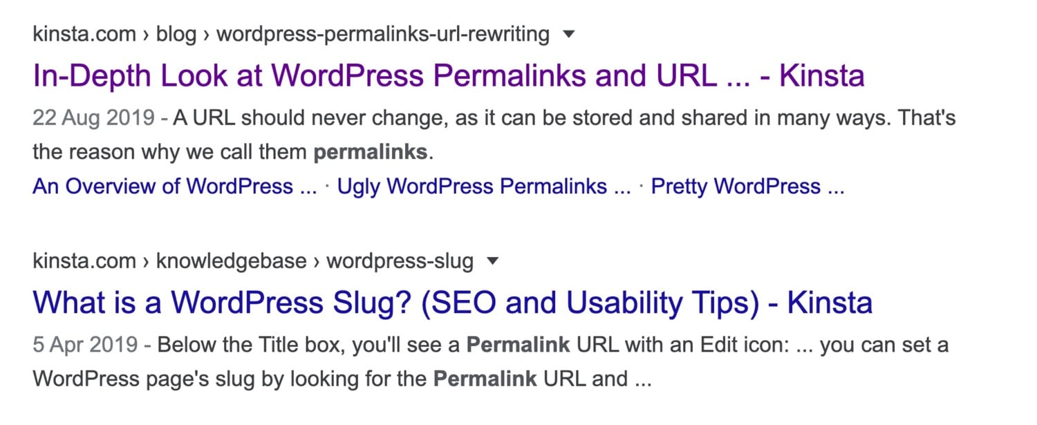 Google resultaat – WordPress permalinks