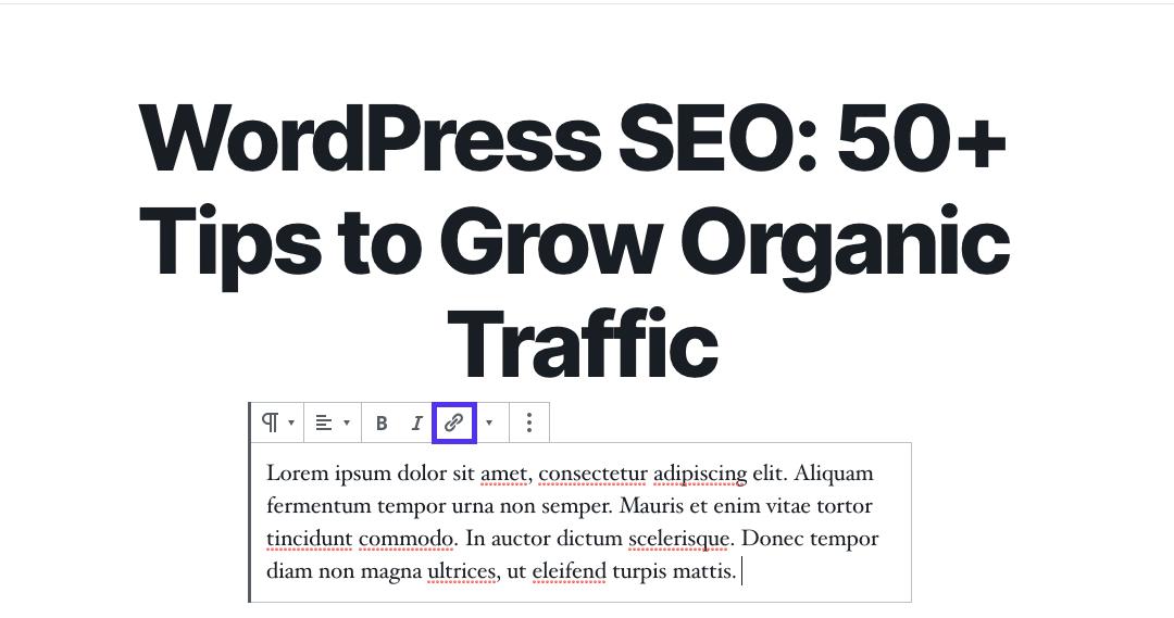 De link toevoegen knop in de blok editor