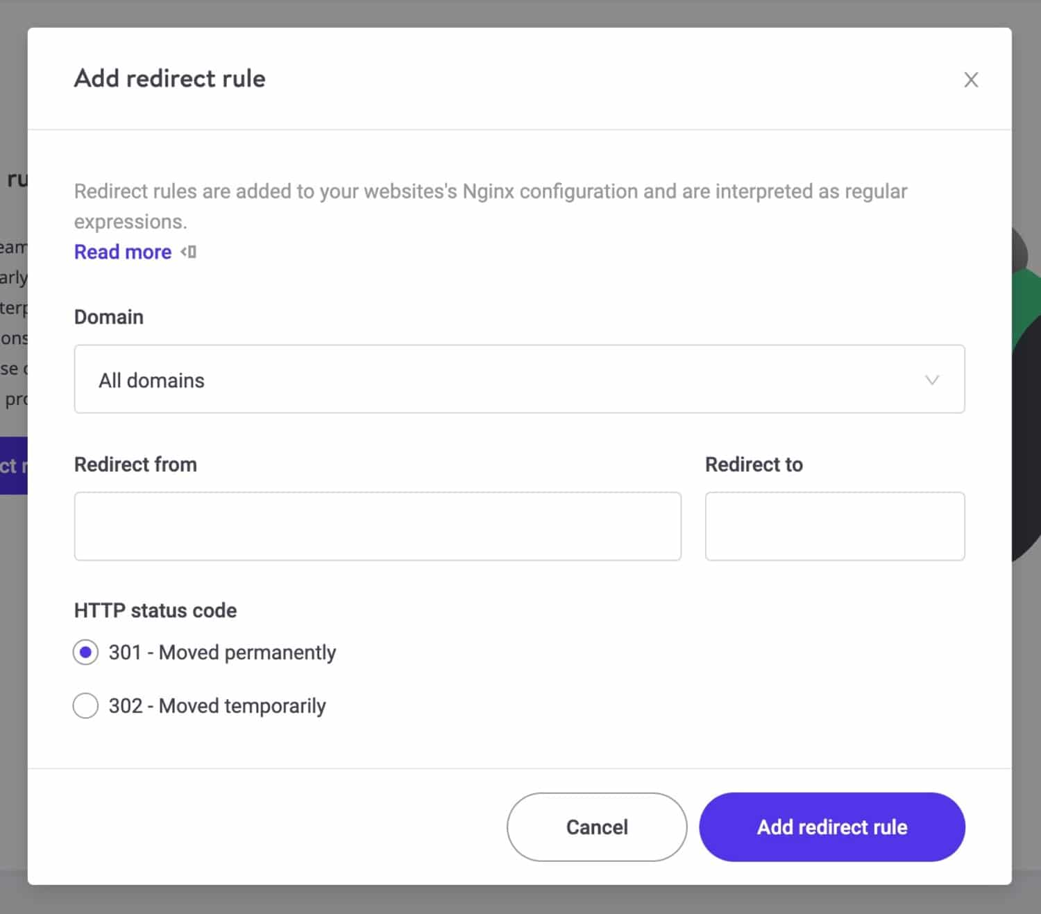 MyKinsta add redirect rule