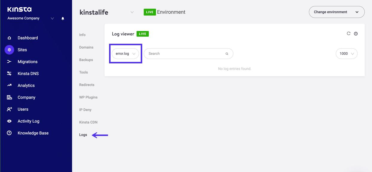 De serverlogs bekijken in MyKinsta dashboard