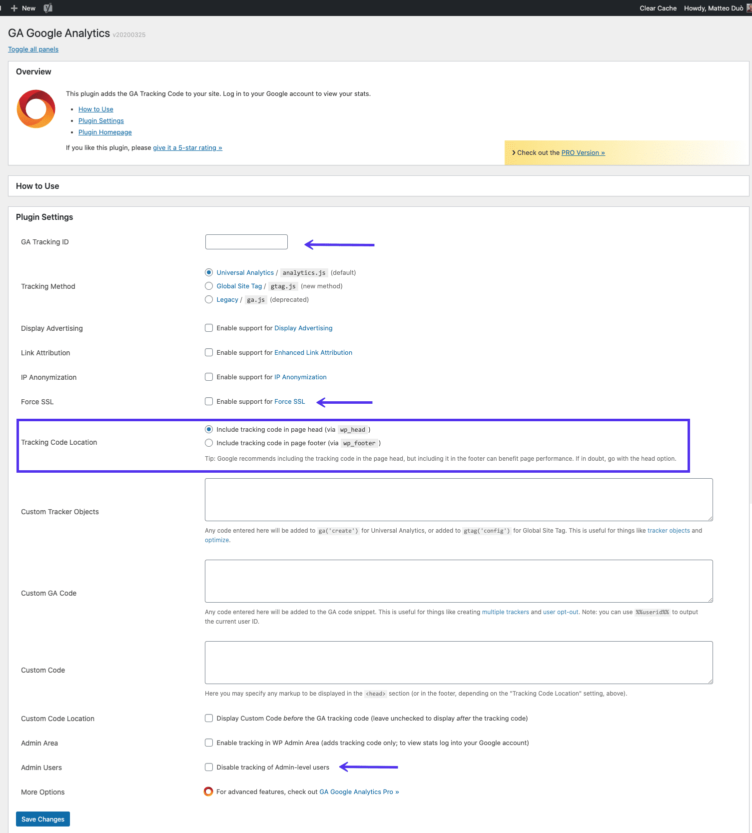 GA Google Analytics WordPress plugin instellingen