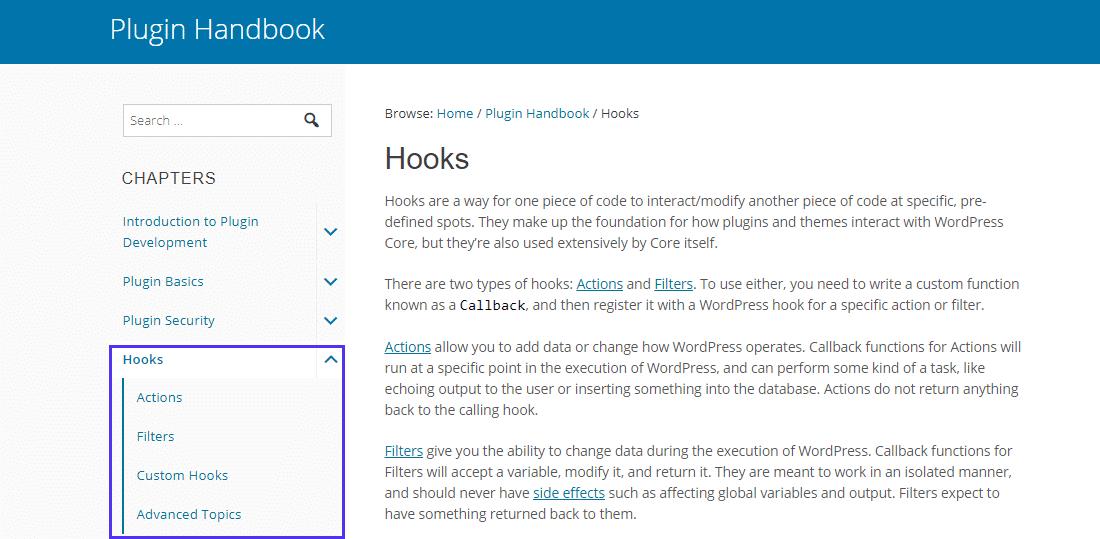 Begin met de informatie over Hooks in het WordPress Plugin Handbook