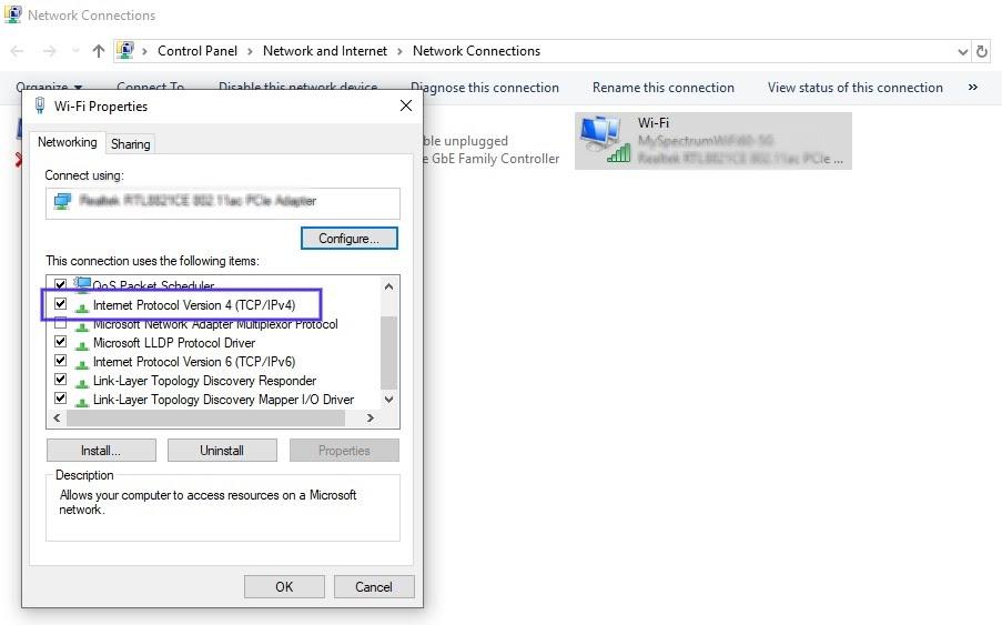De eigenschappen voor wi-fi binnen Windows