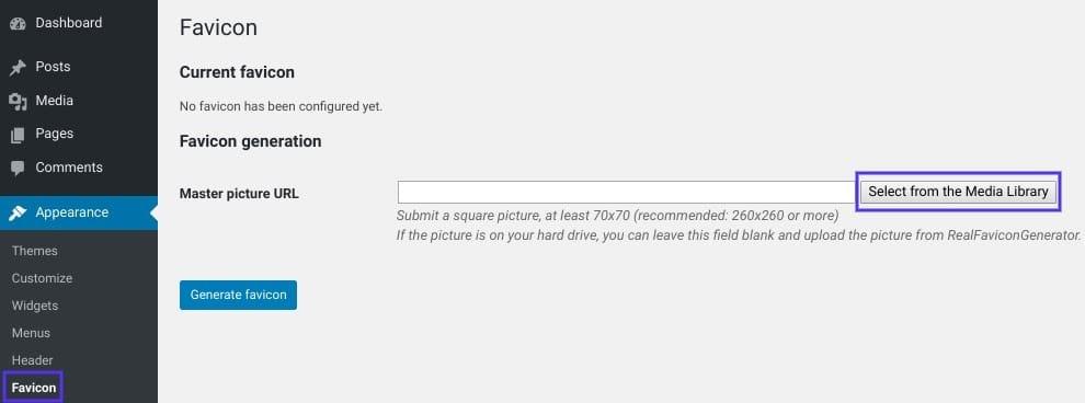 Het scherm om een favicon toe te voegen in WordPress via een plugin