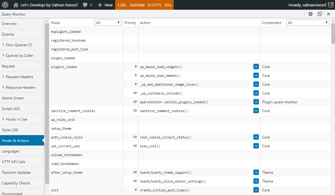 Het Hooks & Actions panel in Query Monitor