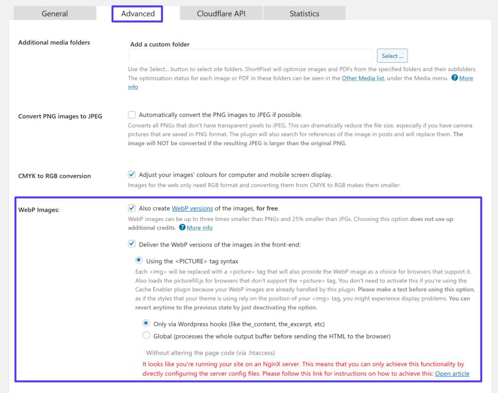 Het inschakelen van WordPress WebP afbeeldingen in ShortPixel
