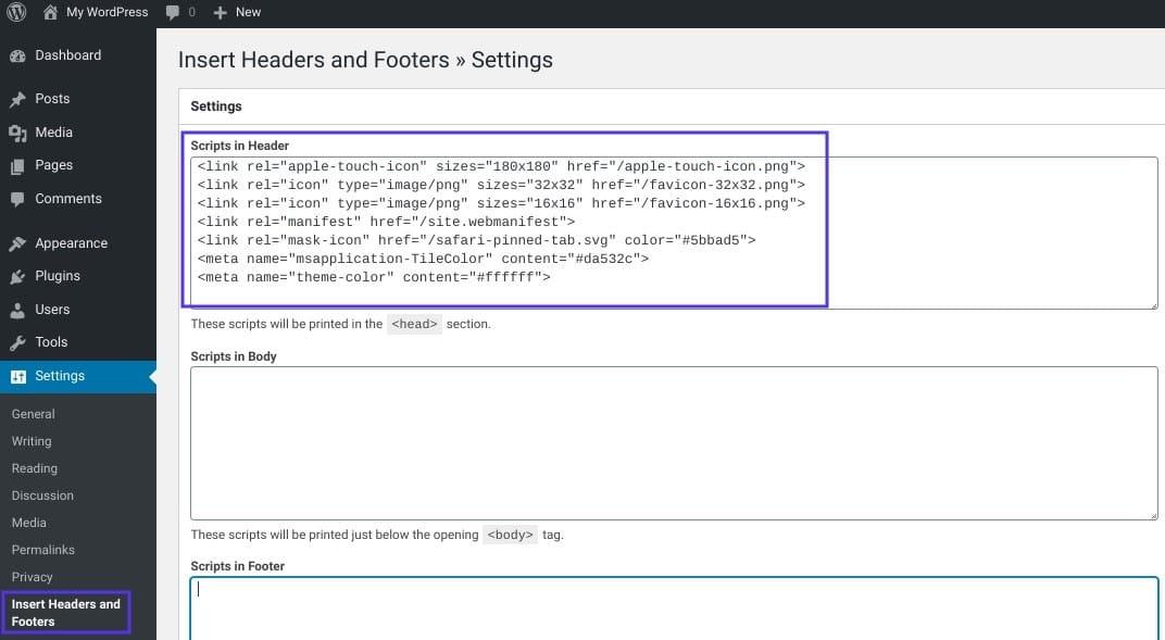 Toevoegen van de code voor de favicon via de Insert Headers and Footers plugin