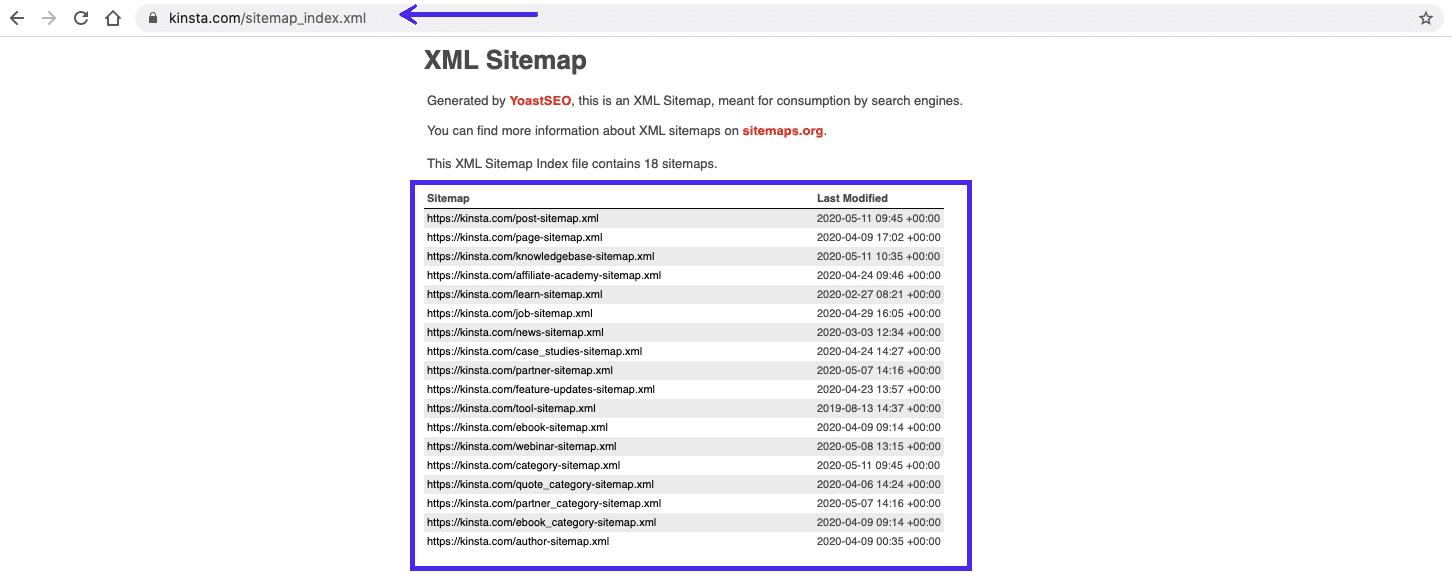 Kinsta's XML sitemap