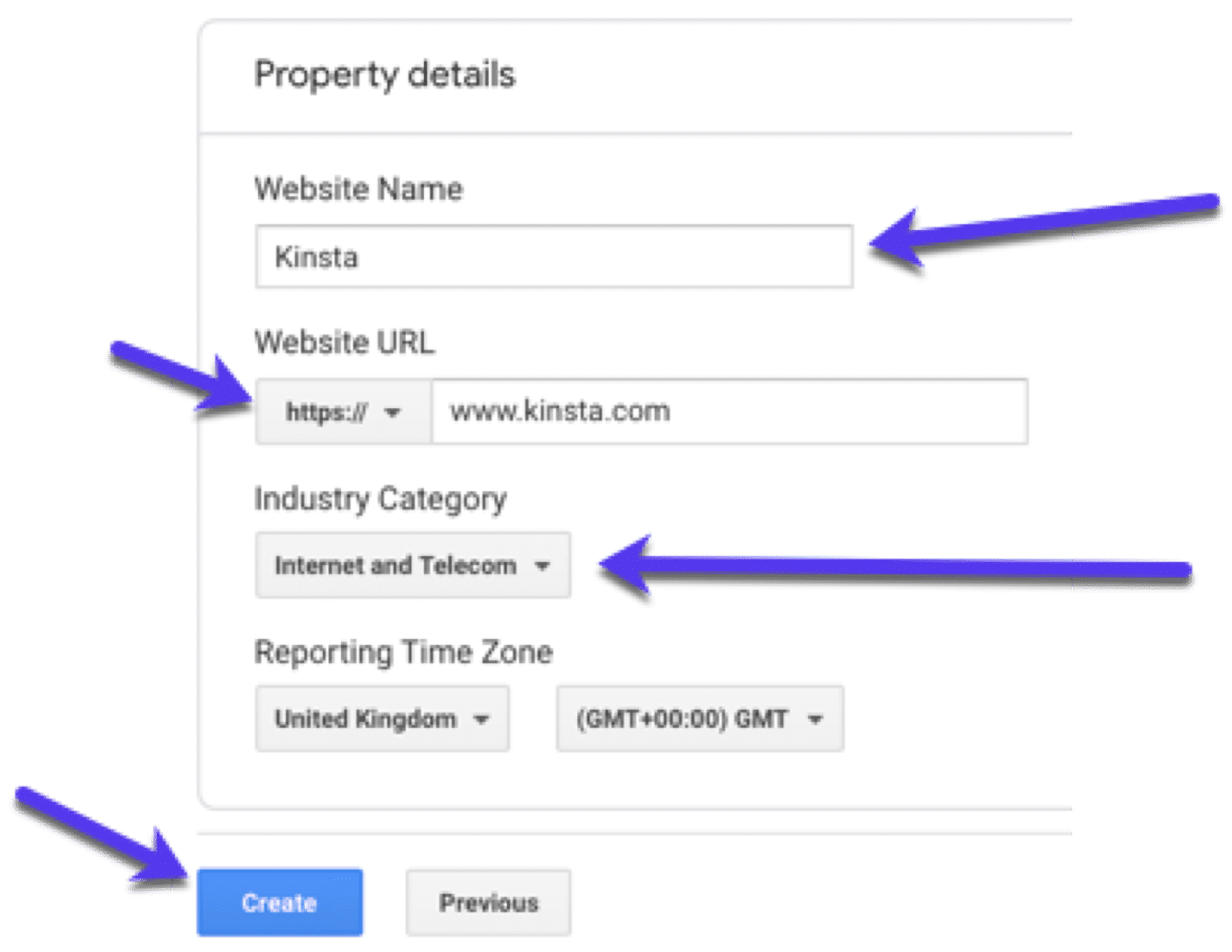 Propertydetails - voeg informatie toe over je site in Google Analytics