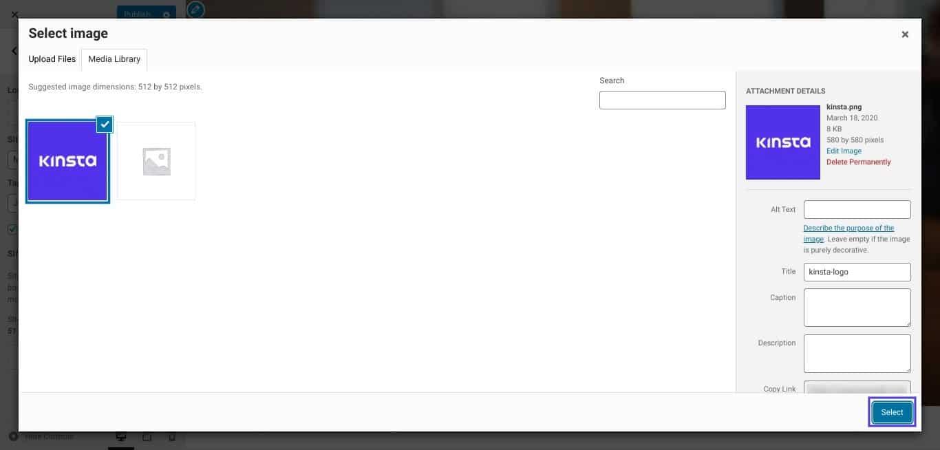 Selecteren van je favicon afbeelding in WordPress