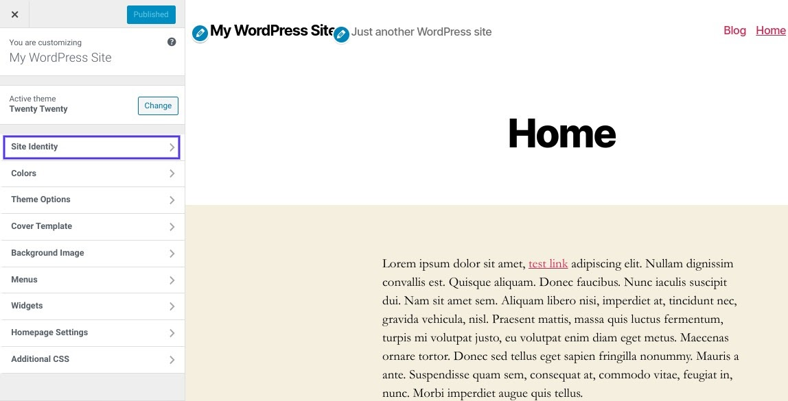 De 'Site Identity' optie in de WordPress Customizer